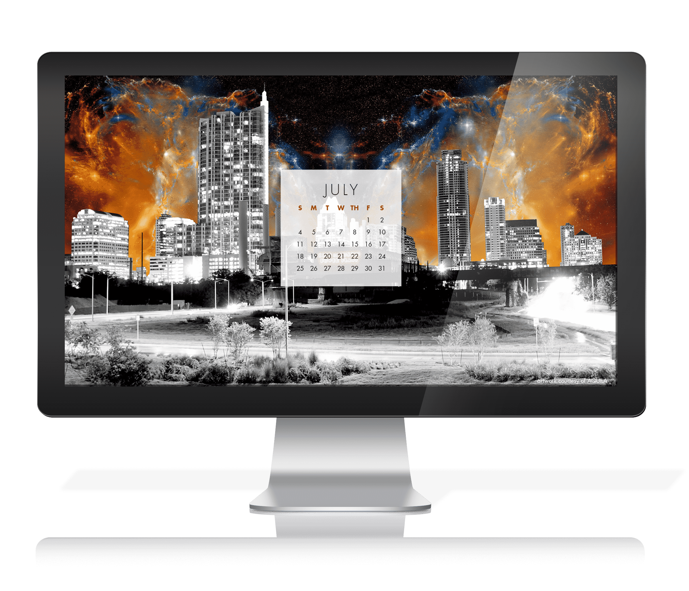 Desktop Background with Calendar - Free Download - Jake Bryer - Austin Night Sky