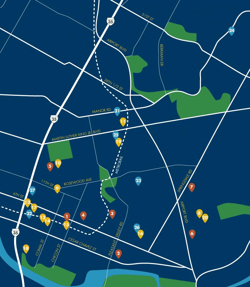 East Austin Developments Map