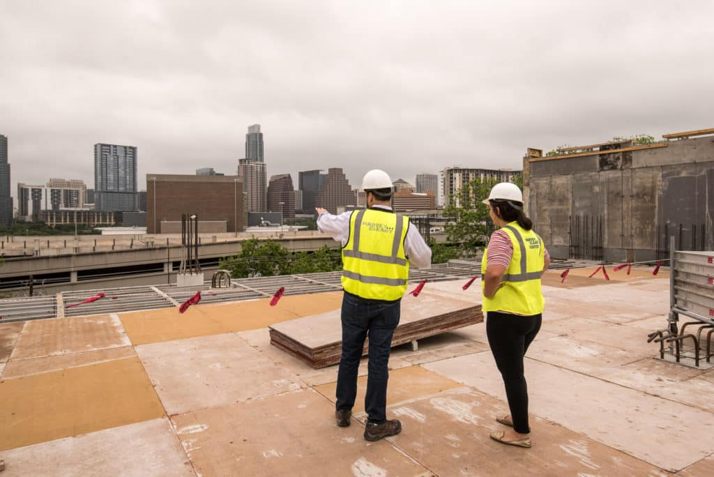 Developer Joe Llamas touring the 801 Barton Springs Construction Site in Austin, Texas