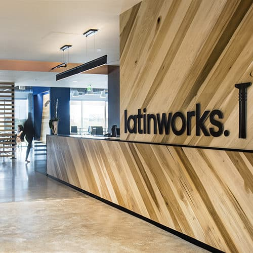 Interior of Latinworks office space in Austin, Texas