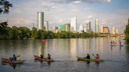 Kayakers on Lady Bird Lake in Austin, Texas