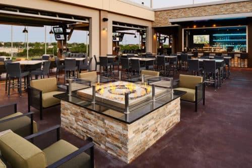Bar and patio at TopGolf - Domain Austin, Texas