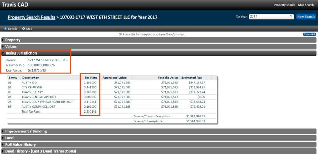 TCAD Property Search Results Property Tax Rates in Austin
