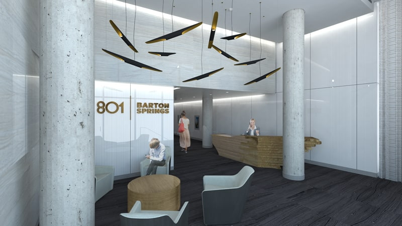 Interior lobby rendering of 801 Barton Springs