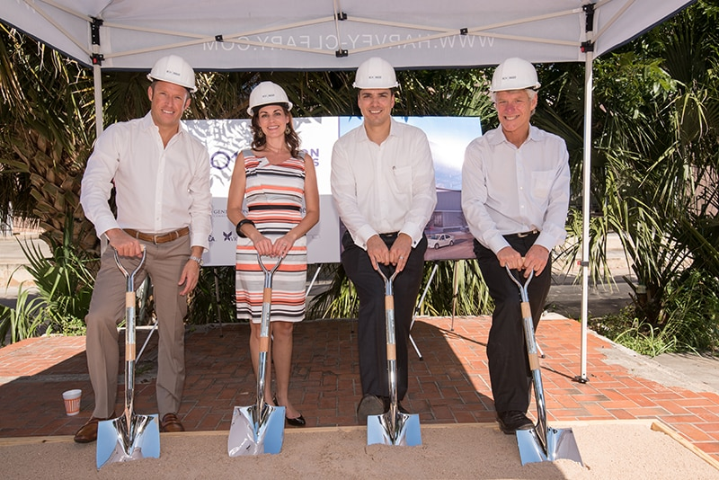 Chad Barrett, Bethany Perez, Joe Llamas and Bart Matheney at 801 Barton Springs Groundbreaking | Property Marketing Events