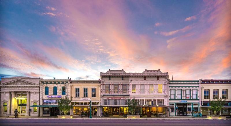 Shops along Austin Avenue in Georgetown, Texas.