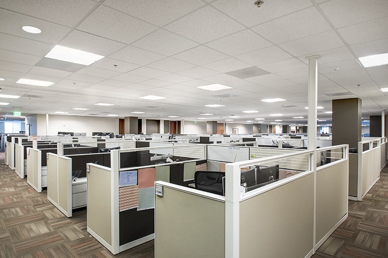 Cubicles in traditional office space | finding office space