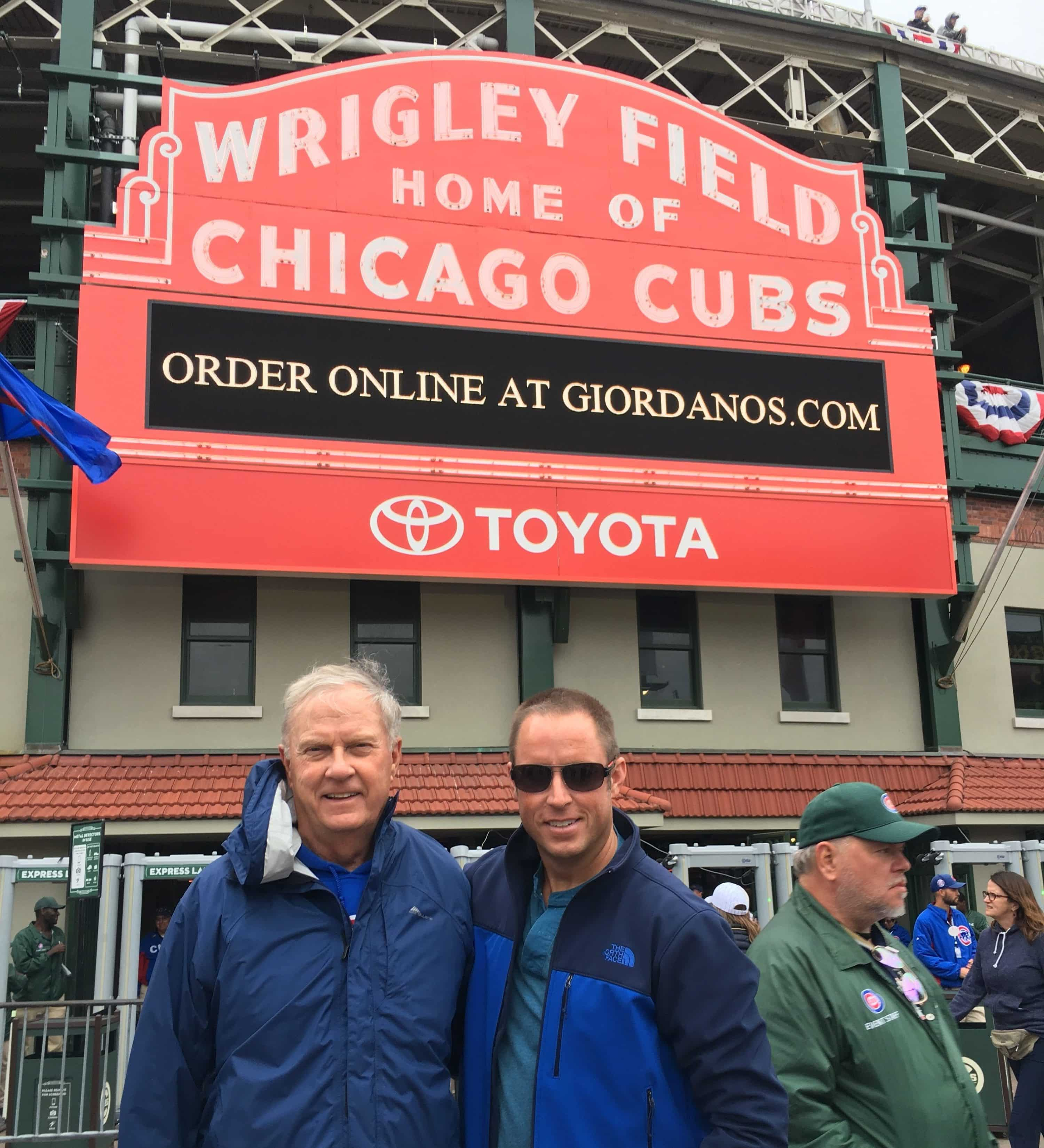Chad Barrett + his dad at Wrigley Field