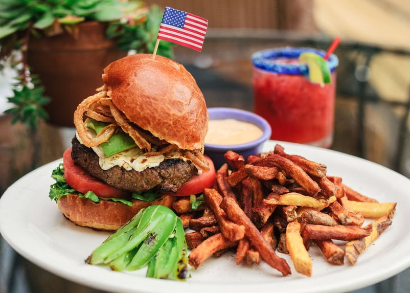 Bison Burger with American Flag   4th of July Recipe