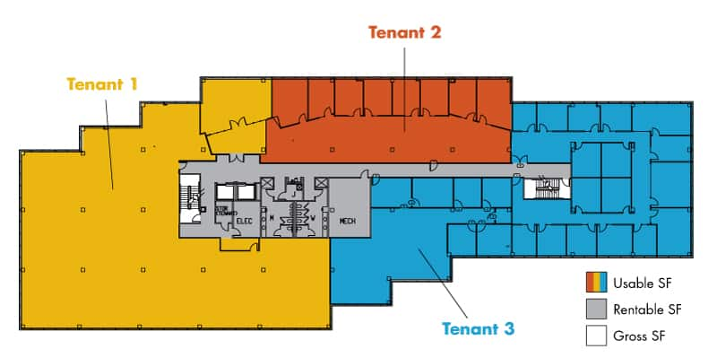 Diagram of Usable v. Rentable SF with multiple tenants on one floor