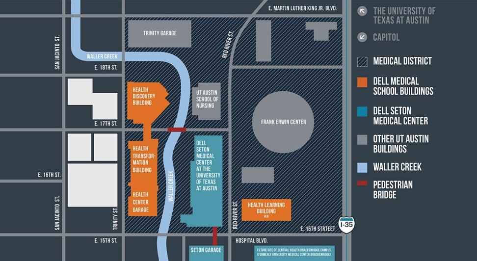 Map of Dell Medical, Part of the Austin Innovation District