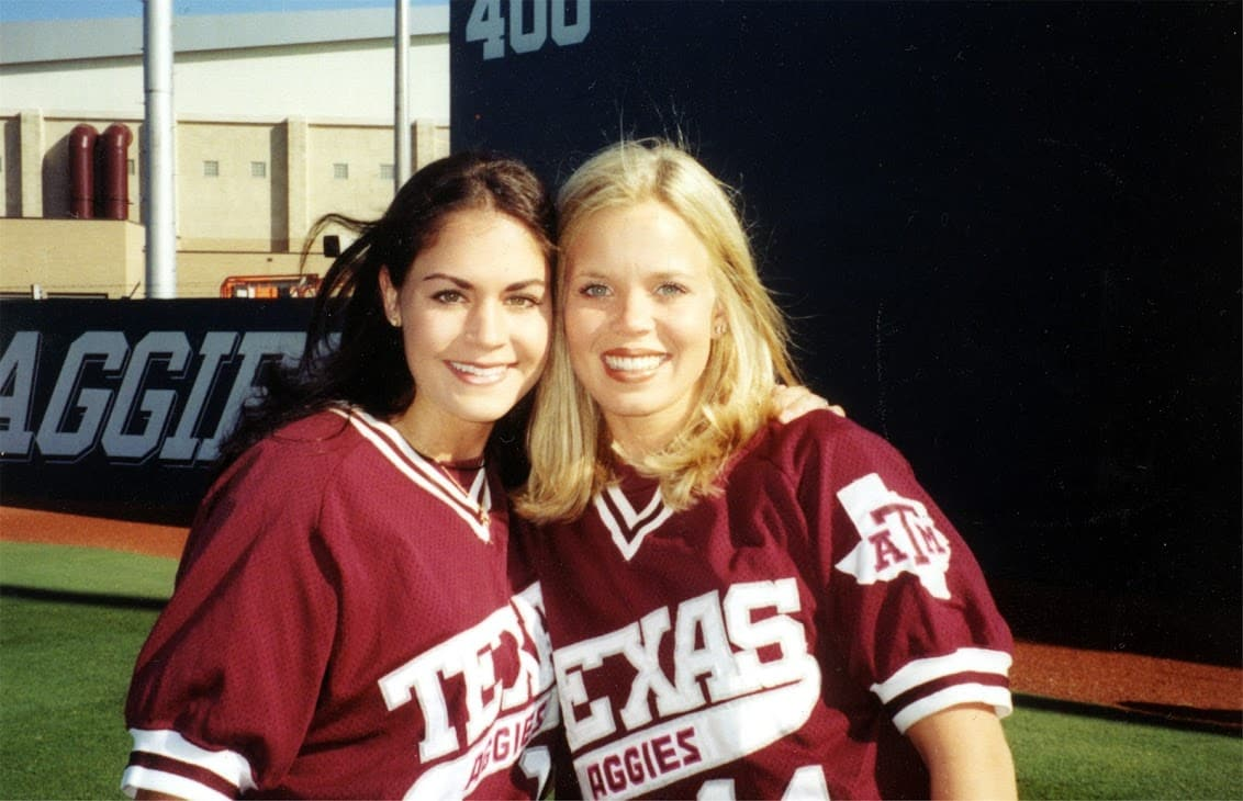 Bethany with a fellow Diamond Darling at Texas A&M.