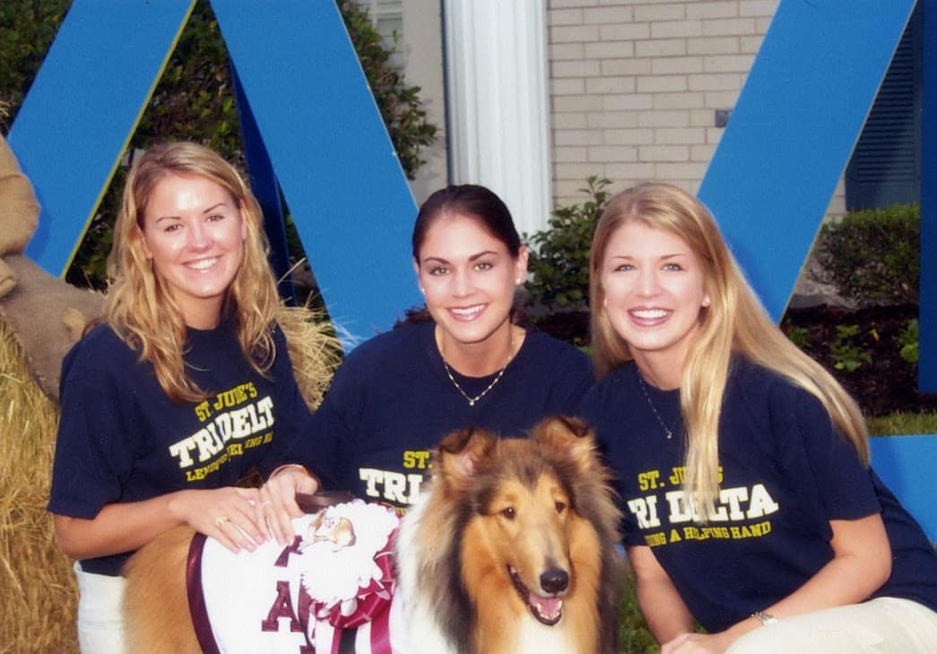 Bethany in college with friends and A&M mascot, Reveille