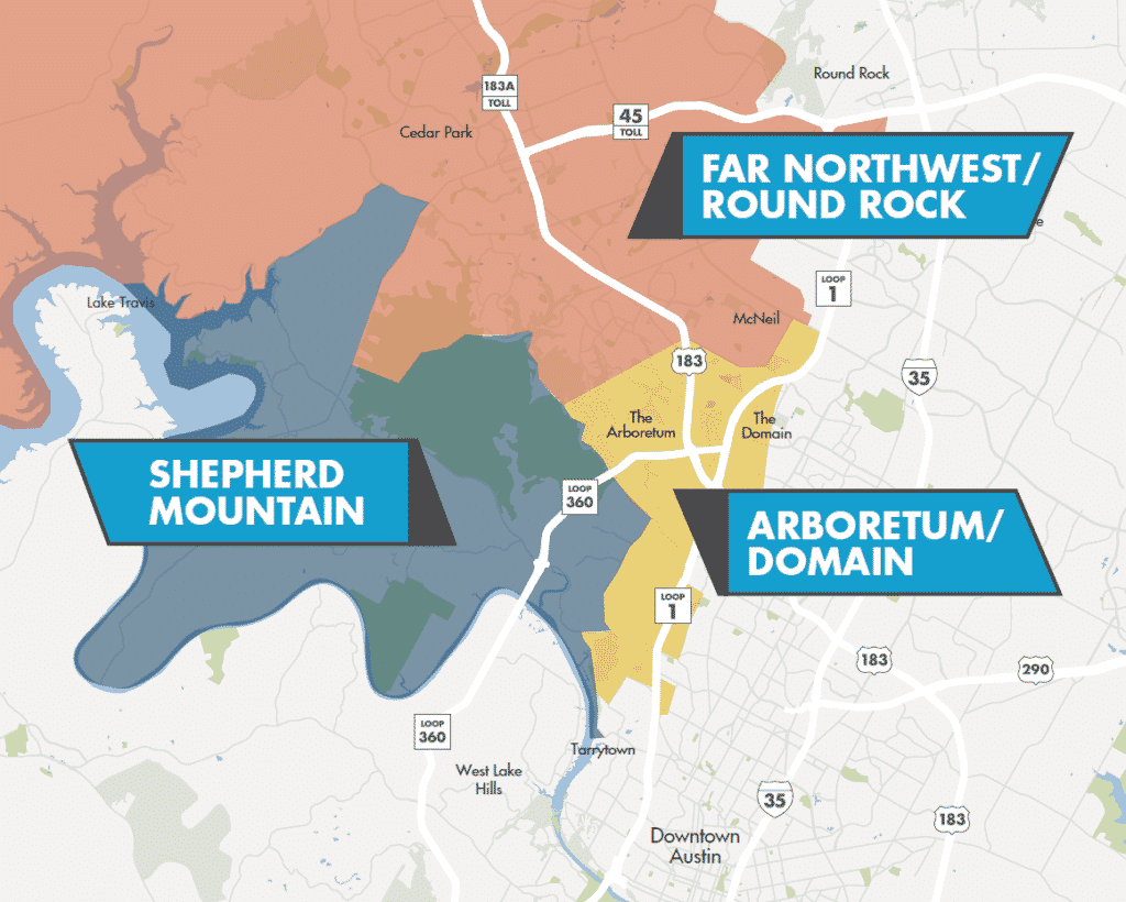 Northwest Micromarkets Map | Domain/Arboretum, Shepherd Mountain, Far Northwest/Round Rock