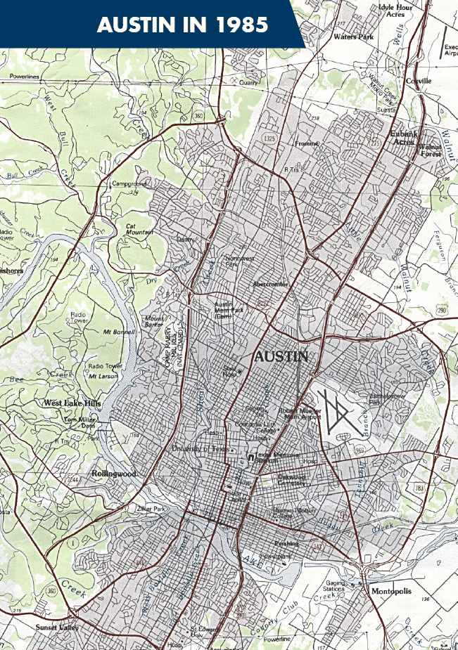 Map of Austin in 1985