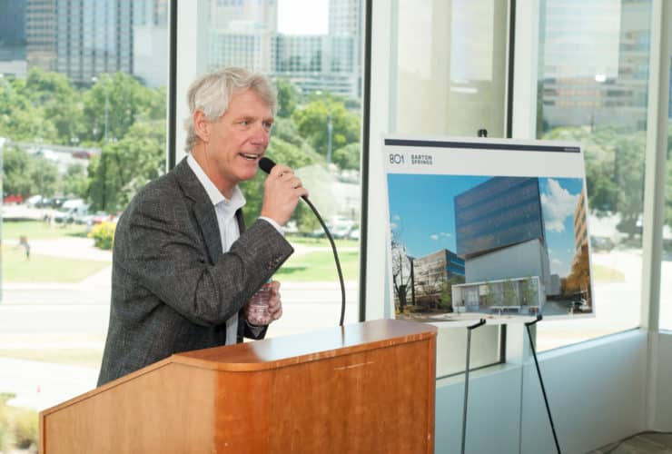 Bart Matheney speaks at the 801 Barton Springs groundbreaking event