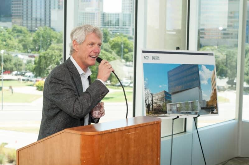 Bart Matheney speaks at the 801 Barton Springs groundbreaking event