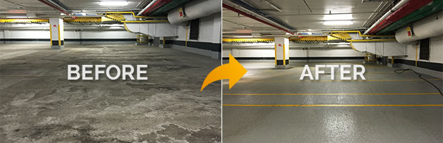 Professional Parking Garage Cleaners - before and after