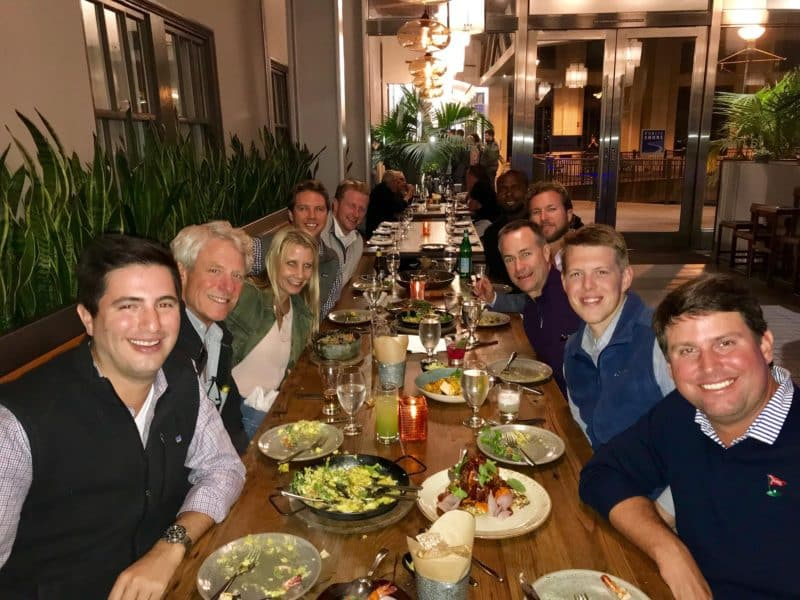 Leigh Ellis with fellow colleagues at dinner in San Francisco.
