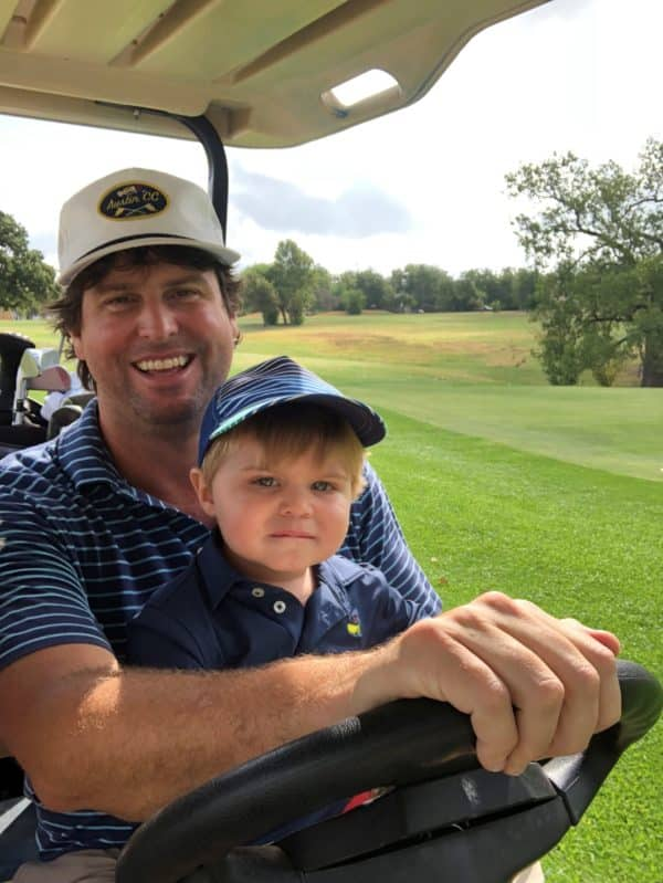 Leigh on the golf course with his son Harrison.