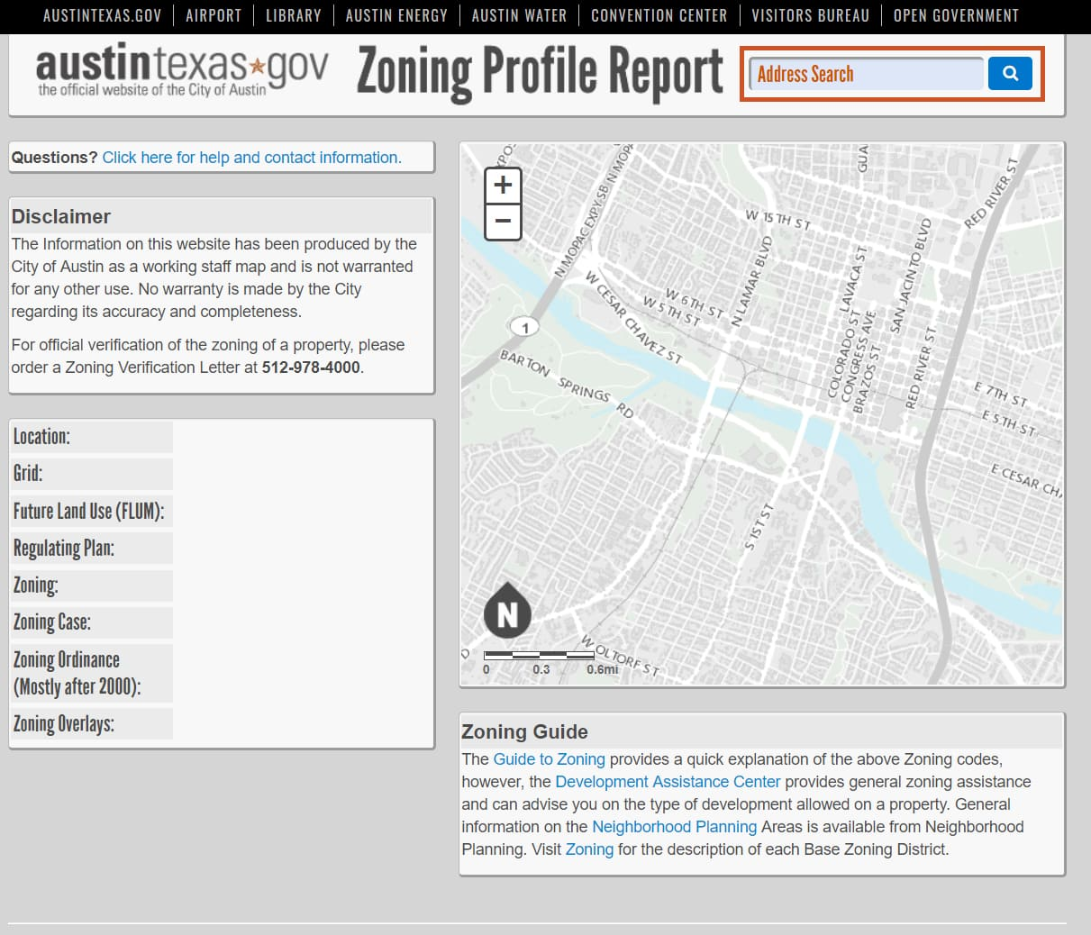 Address search for City of Austin Zoning