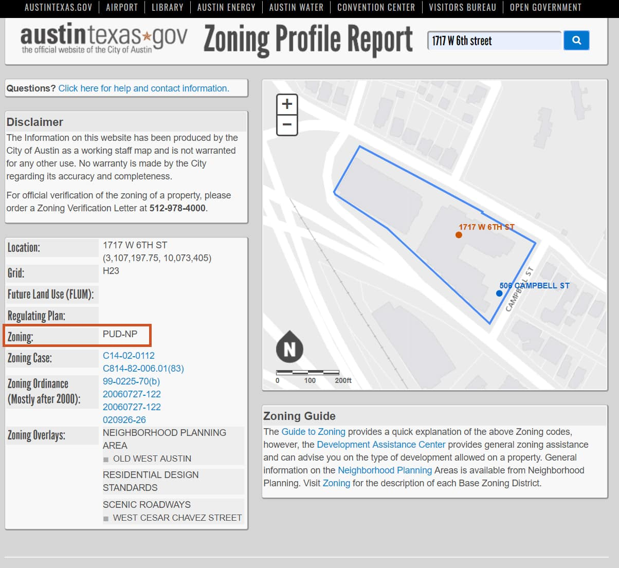 City of Austin Zoning Profile