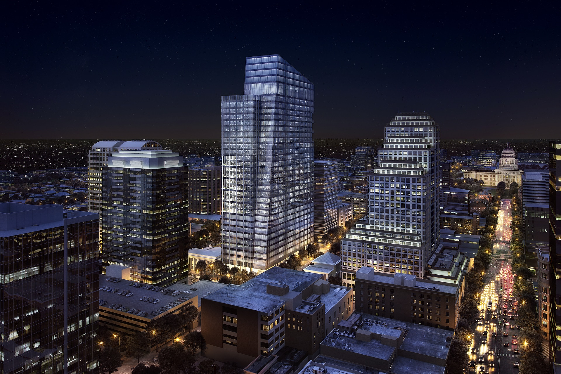 200 West 6th Street Night Rendering by Devisual