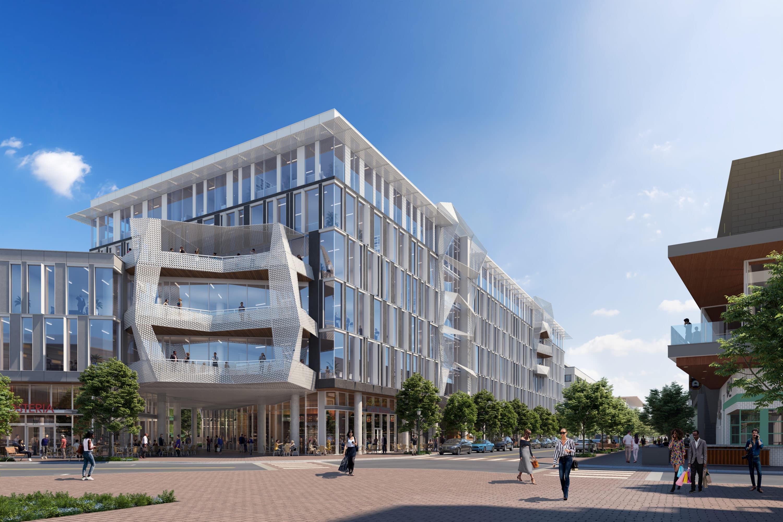 Street-Level Rendering of Mueller Business District by BOGZA