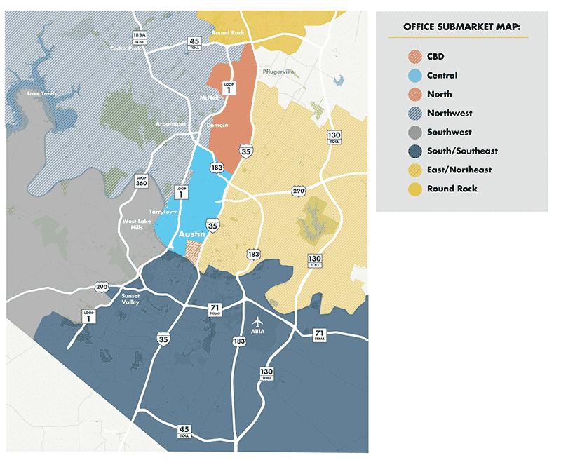 Office Submarkets Map | Austin, Texas | finding office space