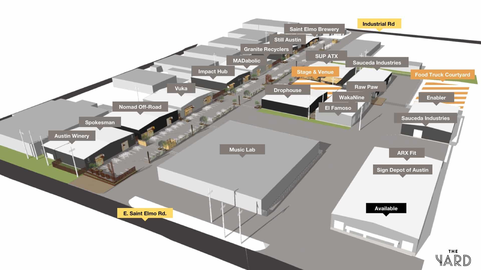 The Yard Site Map | St. Elmo Austin
