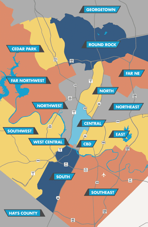 Map of Austin Industrial Submarkets